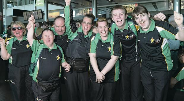 High hopes: Team Ireland members Philomena Doherty, Pat Dorgan, Paul Carrol, Carrie Doyle, Adam Smyth and Sarah Kilmartin before jetting off from Dublin Airport to the Special Olympics in Antwerp