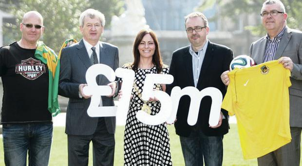 Council boost: Pictured are Cllr Lee Reynolds, Lord Mayor of Belfast Nichola Mallon, GAA Director General Pauric Duffy, Jackie Pollock of Shankill Utd and Deegall McKillen of Patrick Pearse GAC