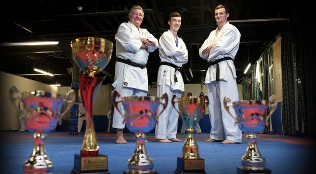 Winners: Oliver Brunton, Japanese Karate Federation Instructor and Craig Ryan pictured along with James Brunton who won at the British Open championships in Glasgow