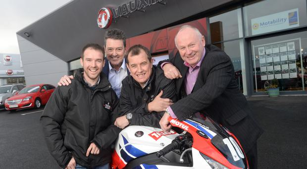 Revving up: Alastair Seeley, Vauxhall Regional Operations Manager Gordon Hannen, John McGuinness and Mervyn Whyte at the launch of the NW200 sponsorship deal