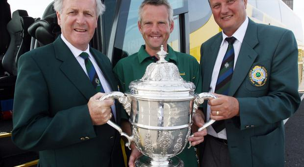 Winners: Roy McCune (right), pictured with Tom McGarel and Noel Graham after British Isles tournament success, now has his sights on making progress at Under-25 level