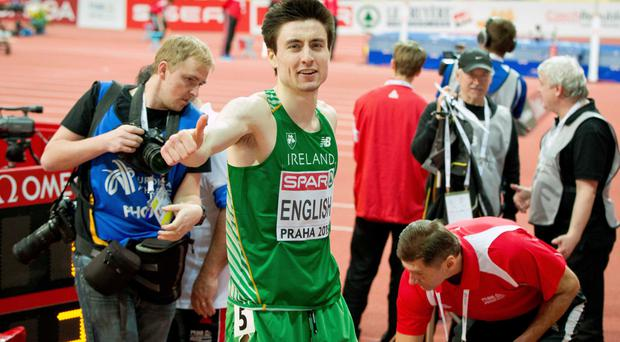 Medal moment: Mark English celebrates his second place in the 800m final in Prague