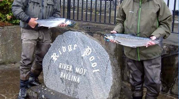 Pair of aces: Mark O'Meara and Sean McManmon with four of their seven fly-caught Ridge Pool salmon