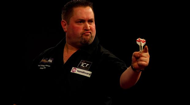 Pointing the way: Alan Norris on his way to victory over Robert Thornton