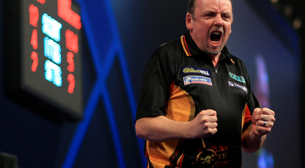 I've done it: Ronny Huybrechts celebrates his dramatic success against Dean Winstanley