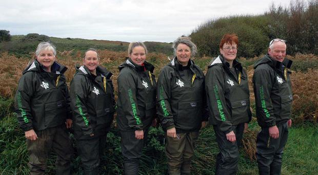 Casting off: (from left) Jane Cantwell, Janet Snoddy, Lisa Gormley, Anne Whitty, captain, Pat Short and team manager Jim Snoddy head for Wexford event