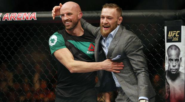 That's my boy: UFC star Conor McGregor celebrates Artem Lobov win