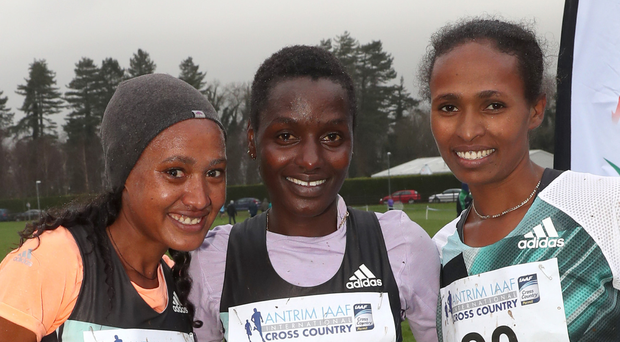 Leading ladies: women's race winner Caroline Kipkirui (centre), second placed Gotytom Gebreslase (left) and third placed Birtukan Adamu at Greenmount International Cross-country