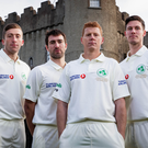Kitted for action: Peter Chase, Andrew Balbirnie, Kevin O'Brien and George Dockrell show off Ireland's Test match shirt. They play Pakistan in Malahide from May 11