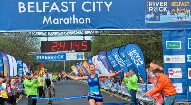 Local talent: Laura Graham winning last year's Belfast Marathon