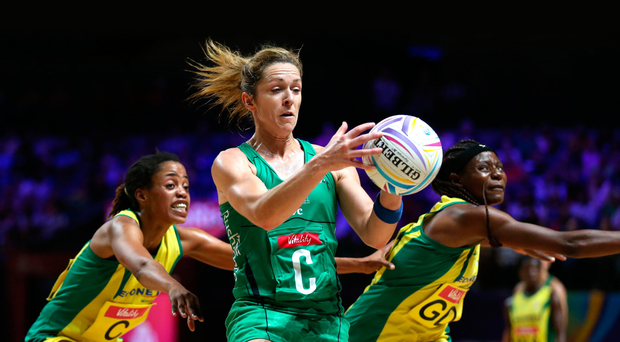 On the ball: NI ace Caroline O'Hanlon in the thick of battle
