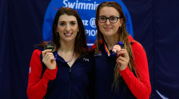 Top honours: Bethany Firth (gold) and Jessica-Jane Applegate (bronze) of Great Britain after the women's 100m backstroke S14 final