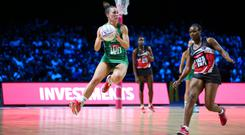 New challenge: Northern Ireland's Niamh Cooper, playing against Trinidad & Tobago in the World Cup, has joined up with Surrey Storm