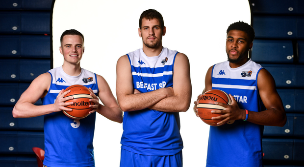 Meaning business: Belfast Star players (from left) Aidan Quinn, DJ Stankovic and Delaney Blaylock