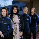 Power boost: Power NI's Gemma Louise Bond with bursary recipients (l-r) Lauren Roy, Callum Nash and Afton Fitzhenry