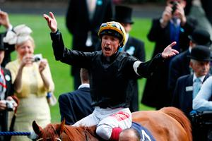 Stand-out success: Frankie Dettori celebrates on Stradivarius after he won the Gold Cup last year