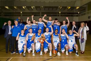 Champions: Conor Quinn and the Belfast Star squad which won the All-Ireland Superleague Basketball title last season