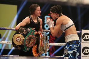 Mutual respect: Katie Taylor with Miriam Gutierrez after the bout