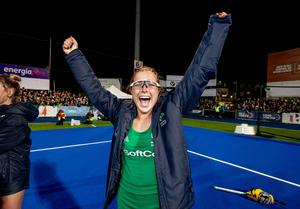 Zoe celebrates Olympic qualification after a play-off win over Canada