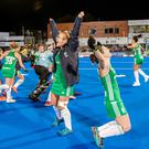 Glory days: Ireland's Zoe Wilson and Roisin Upton celebrate the moment they qualified for the 2020 Tokyo Olympics