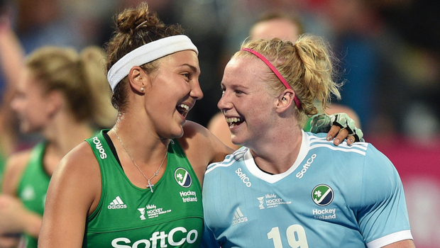 Landmark appearance: Ulster ace Ayeisha McFerran (right) with Ireland team-mate Elena Tice