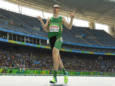 Striking gold: Michael McKillop celebrates after winning the Men's 1500m T37 Final at the Rio Paralympics