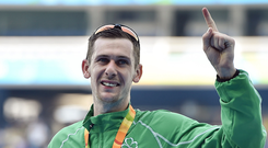 Michael McKillop celebrates with his gold medal