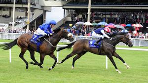 Moviesta (right) denies Toscanini at the Curragh