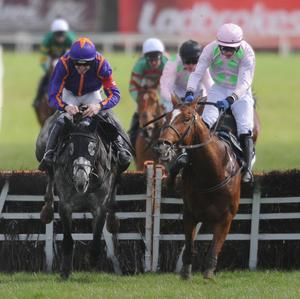 Diakali, left, takes his chance in the Doom Bar Aintree Hurdle