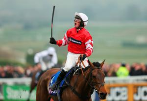 Whip hand: Nico de Boinville celebrates after winning the Cheltenham Gold Cup on Coneygree