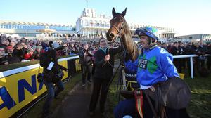 Ruby Walsh and Hurricane Fly celebrate their win in the Ryanair Hurdle at Leopardstown