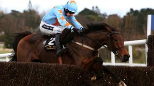 Un De Sceaux ridden by Ruby Walsh clears the last on the way to winning the Frank Ward Solicitors Arkle Novice Chase at Leopardstown
