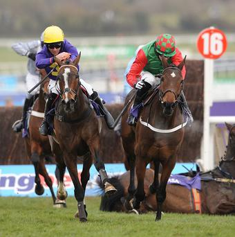 Lord Windermere, left, got the better of Lyreen Legend to win the RSA Chase