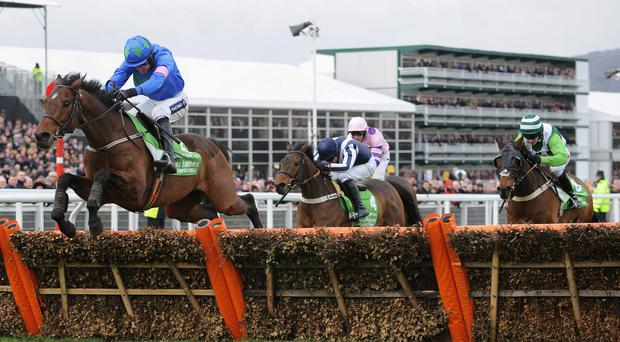 Hurricane Fly ridden by Ruby Walsh jumps the last fence and goes on to win the Stan James Champion Hurdle Challenge Trophy during Champion Day of the 2013 Cheltenham Festival