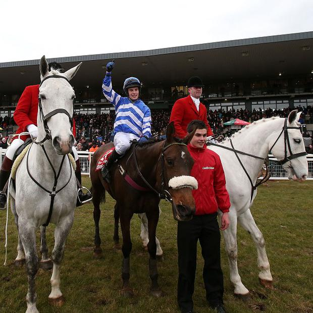 Liberty Counsel with jockey Ben Dalton, centre, winners of the Irish Grand National