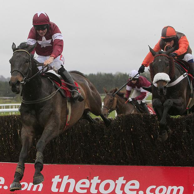Sir Des Champs (left), ridden by Davy Russell, jumps to glory ahead of Long Run in the Punchestown Gold Cup