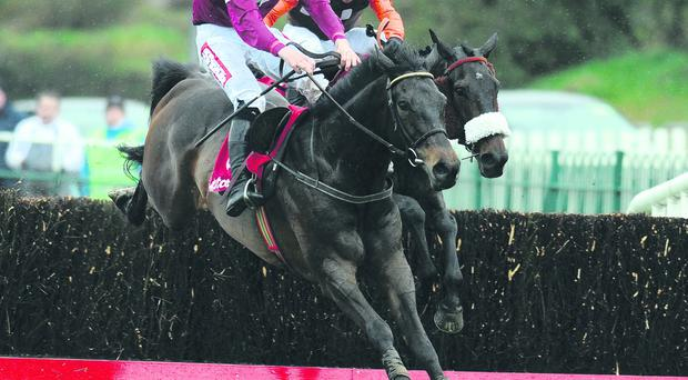 Sir Des Champs, with Davy Russell on board, clears the last ahead of Long Run to win the Punchestown Gold Cup yesterday