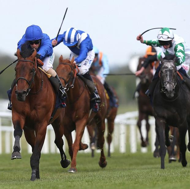 Farhh (left), ridden by Silvestre De Sousa, wins the JLT Lockinge Stakes at Newbury