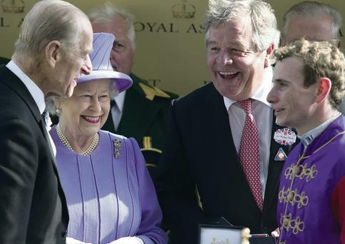 The Queen, Prince Philip, trainer Sir Michael Stoute and jockey Ryan Moore after Estimate's victory last year at Royal Ascot