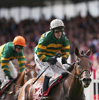 Carlingford Lough (left), ridden by Tony McCoy, wins the Galway Plate from Quantitativeeasing