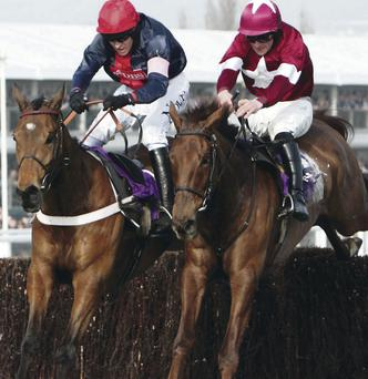 First Lieutenant (right) is tipped to clinch the big JNwine.com Champion Chase today at Down Royal