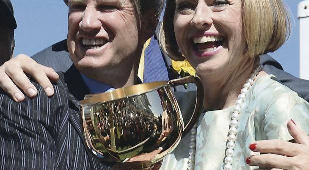 Managing owner Andrew Roberts, left, and trainer Gai Waterhouse with the Melbourne Cup