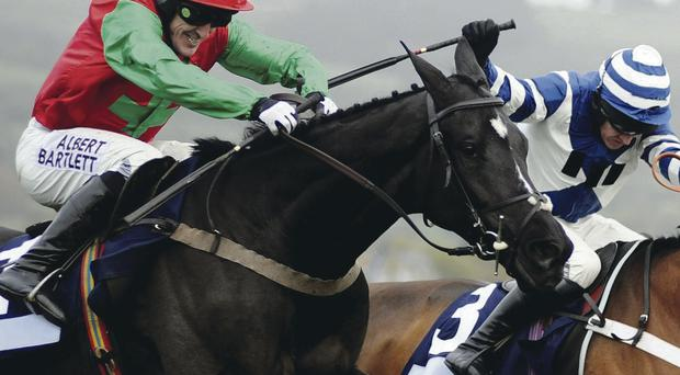 Battling: Tony McCoy rides Taquin Du Seuil to victory at Cheltenham