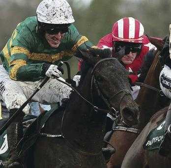 Winner all the way: Tony McCoy on way to victory on board Plinth yesterday in the Paddy Power Maiden Hurdle at Leopardstown's Christmas Festival