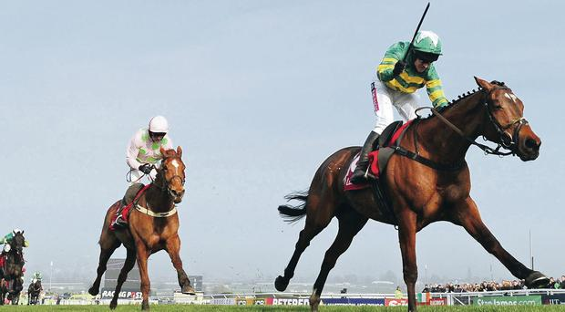 Barry Geraghty on More Of That pulls away from Ruby Walsh and Annie Power to win the World Hurdle