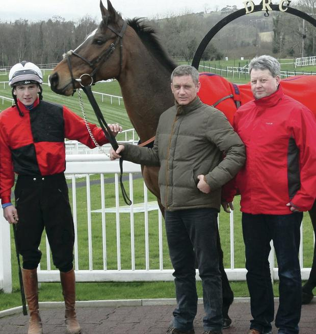 New start: Top Ulster chaser Warne pictured with Downpatrick trainer Brian Hamilton, who will train the horse for new owner Sam Wahey-Cohen with former regular jockey, Declan Lavery and former owner Peter Magill