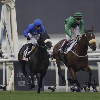 Certerach, right, gets up to win the Dubai Gold Cup (AP)