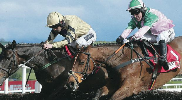 Going for gold: Ruby Walsh and Boston Bob (left) get the better of Tony McCoy and Argocat to win the Punchestown Gold Cup yesterday
