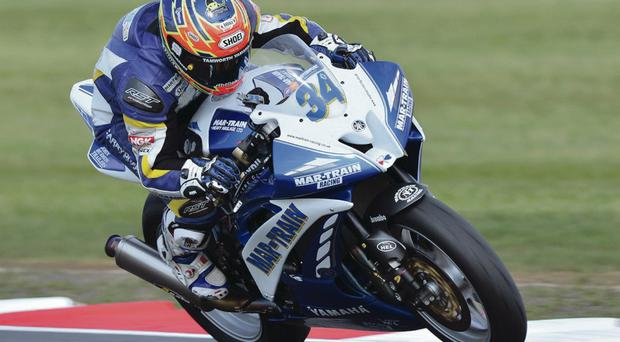 Falling down the ladder: Alastair Seeley has dropped to fourth position in the title standings after slipping off his bike during the warm-up lap at Snetterton