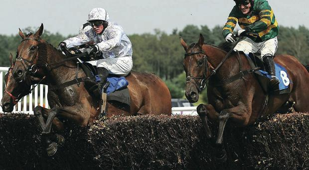 Final hurdle: Ulster great Tony McCoy (right) rides It's A Gimme to a record-breaking victory at Market Rasen